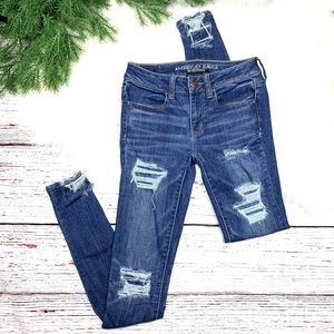 👖|•AEO🦅•| Distressed Destroyed Jeggings X-Long👖